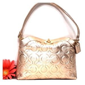 New COACH Rose Gold OP Art Leather Capacity 2way
